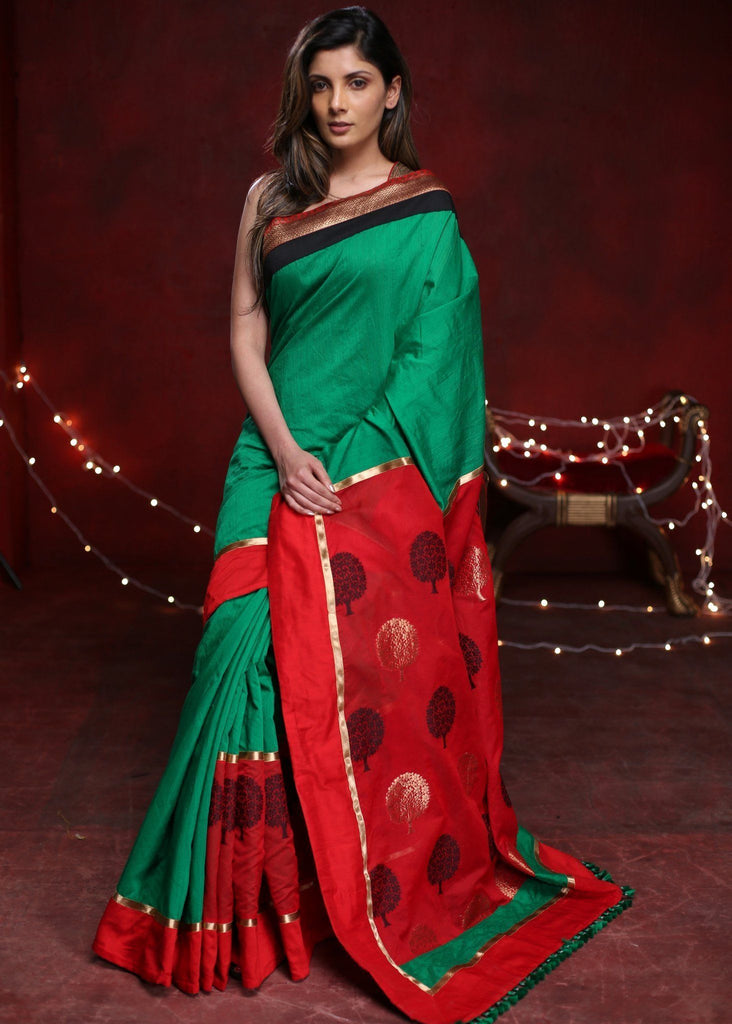 Green cotton silk saree with benarasi work on chanderi pallu and pleats - Sujatra