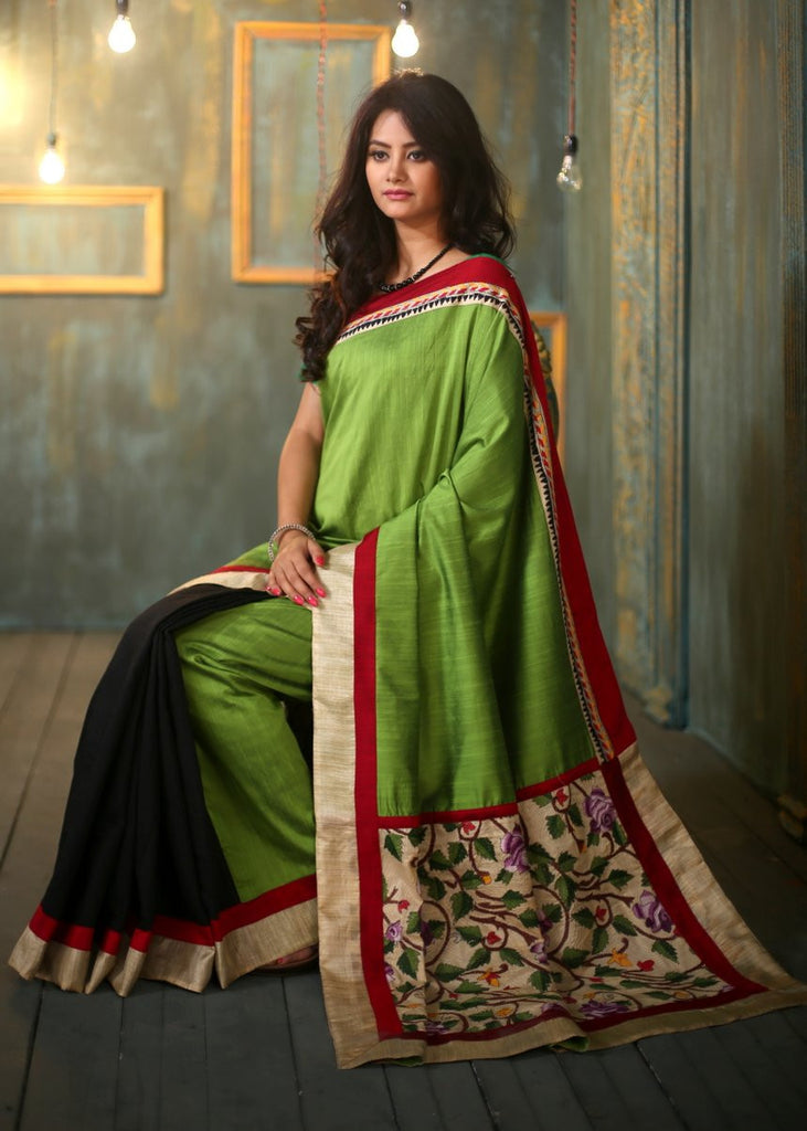 Green cotton silk saree with zari border and embroidered pallu - Sujatra