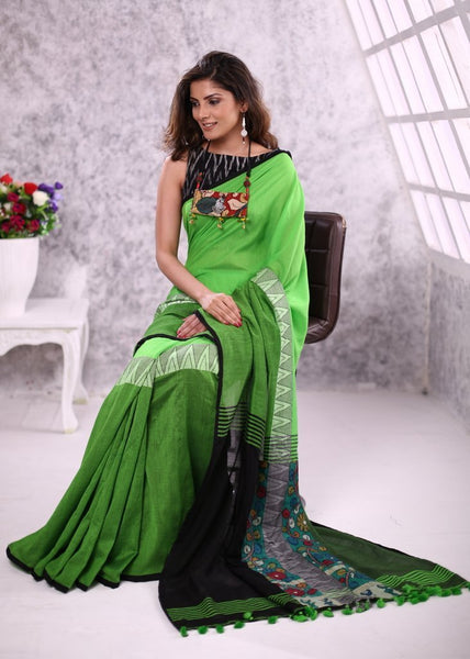 Saree - Green Soft Bengal Cotton Saree With Kalamkari Combination & Ikat Blouse Piece