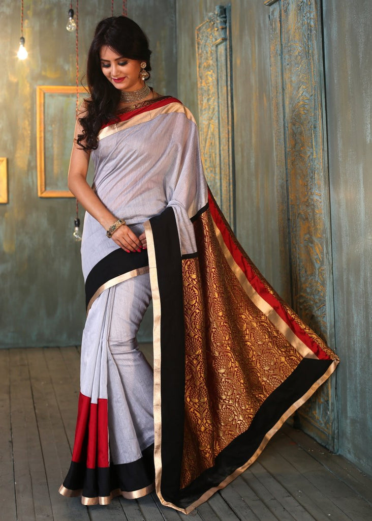 Saree - Grey Chanderi Saree With Contrast Border And Pure Brocade Pallu