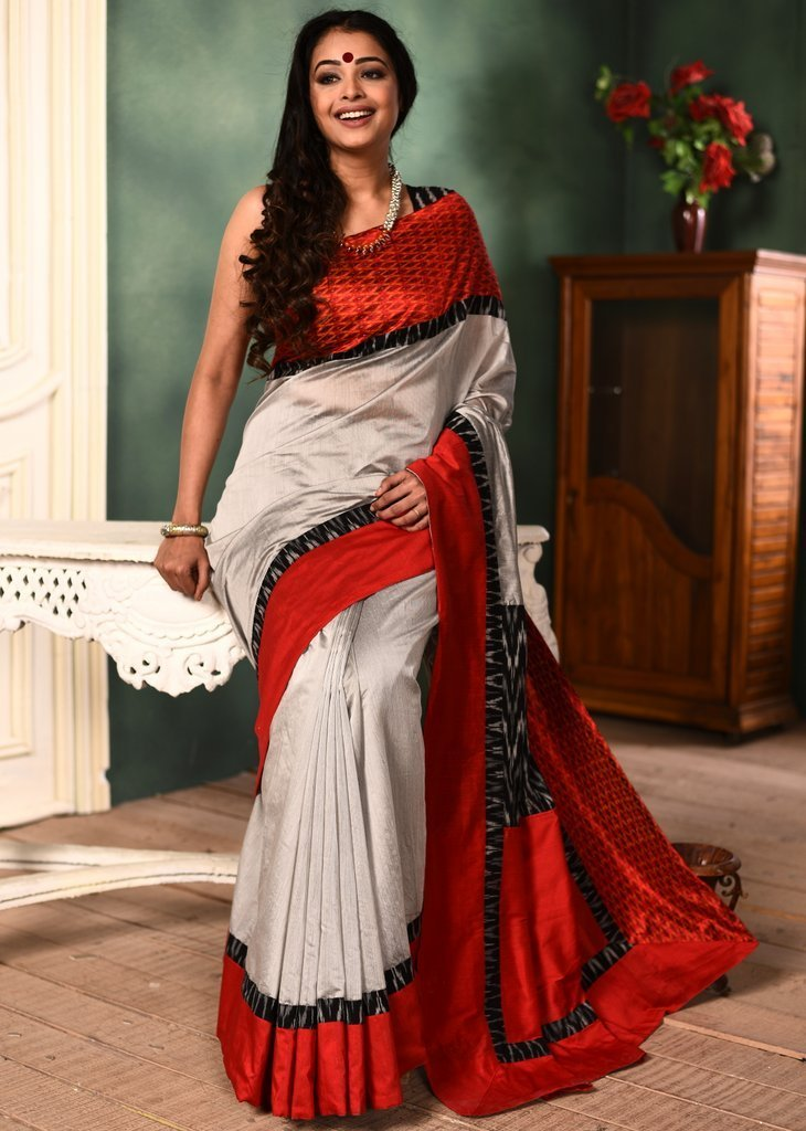 Saree - Grey Chanderi Saree With Exclusive Ikat Border & Ikat Patch On Pallu