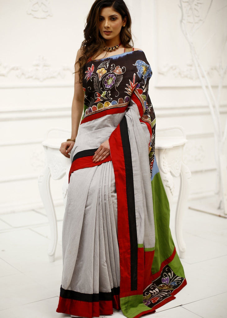 Grey chanderi saree with hand batik work - Sujatra