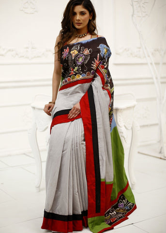 Grey chanderi saree with hand batik work
