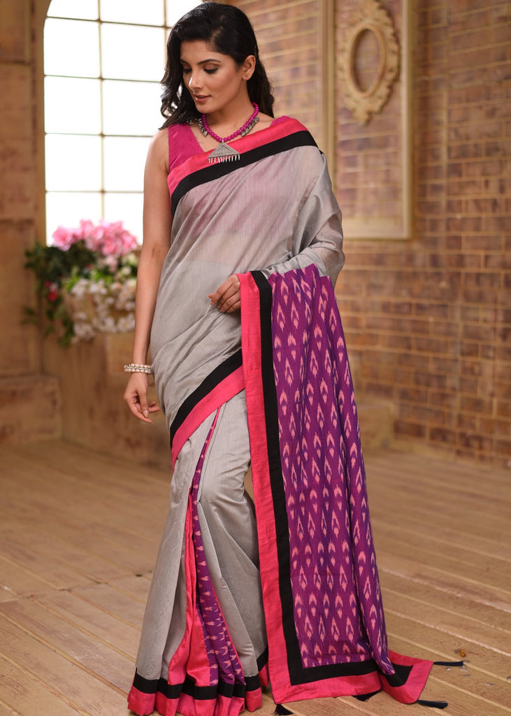 Saree - Grey Chanderi Saree With Ikat Pallu & Ikat Patch On Pleats