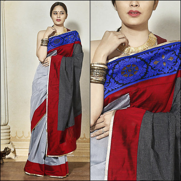 Saree - Grey Chanderi With Black Handloom Checks Pallu & Blue Banarasi Border