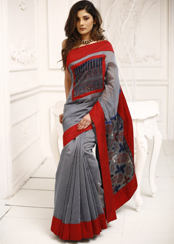Grey chanderi with block printed ajrakh on pure silk pallu & front