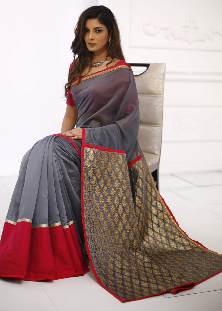 Saree - Grey Chanderi With Exclusive Brocade Work Pallu
