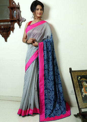 Grey chanderi with indigo printed cotton pallu