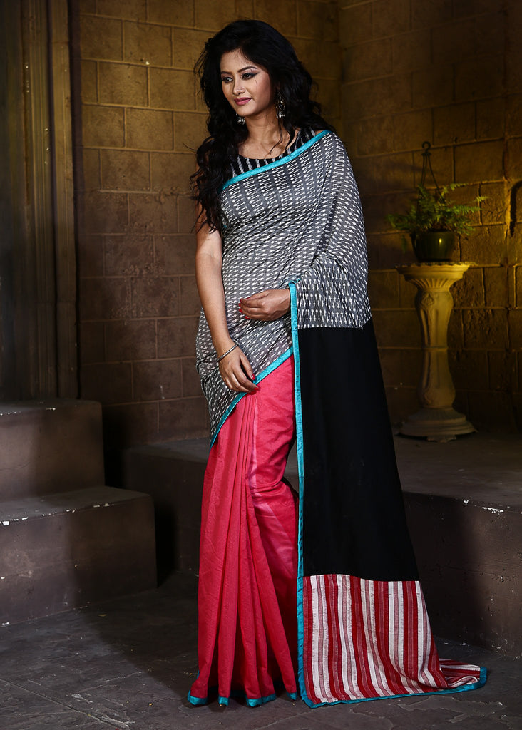Saree - Grey Ikat Mercerised Pure Cotton With Pink Chanderi & Ikat Patch On Pallu