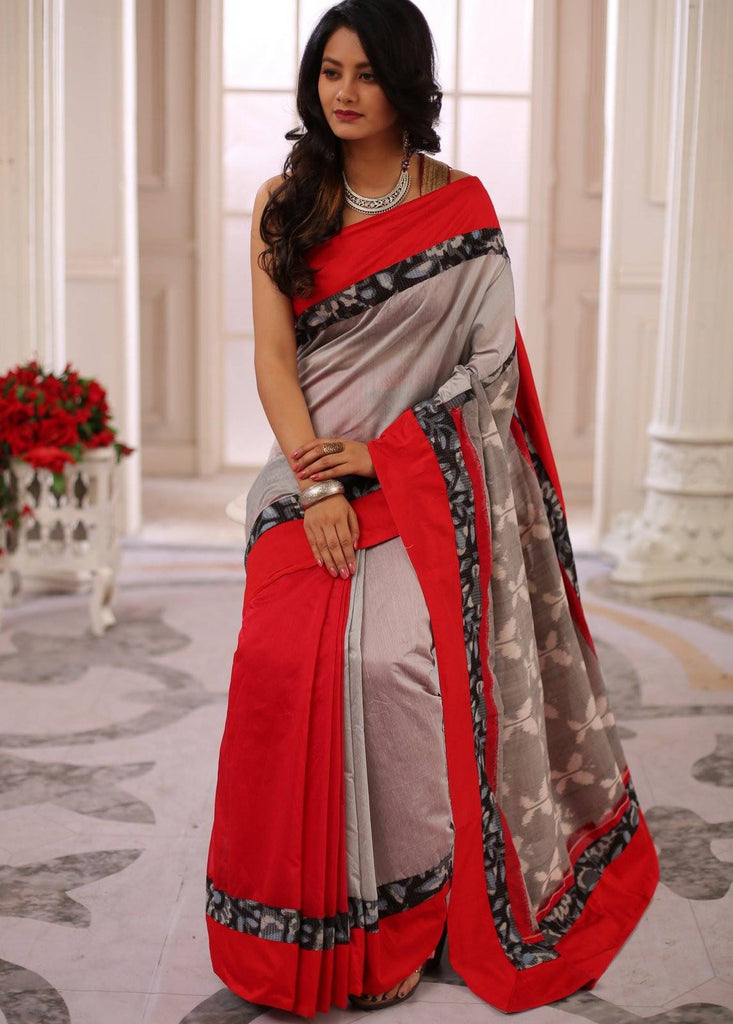 Saree - Grey & Red Chanderi Saree Combination With Double Ikat Pallu