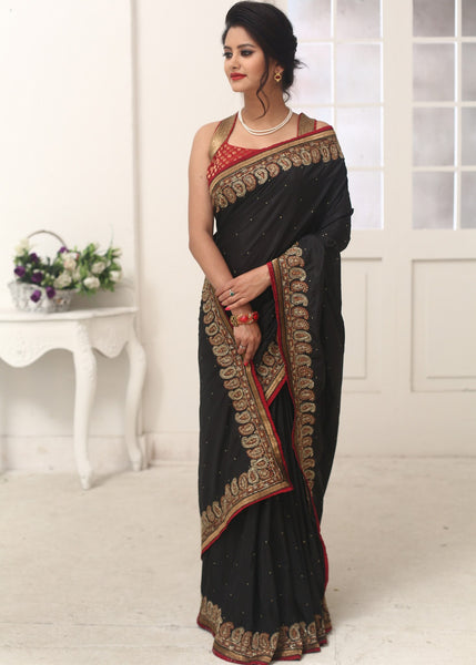 Saree - Hand Crafted Zardosi Work On Art Silk Saree