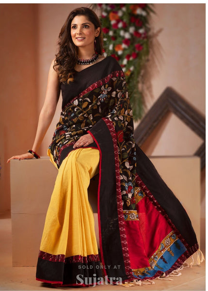 Saree - Hand Painted Kalamkari Saree With Handloom Cotton Pleats And Ikat Border