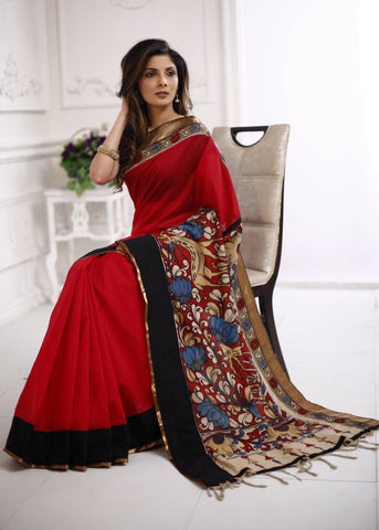 Hand painted Kalamkari with exclusive zari border with red chanderi saree