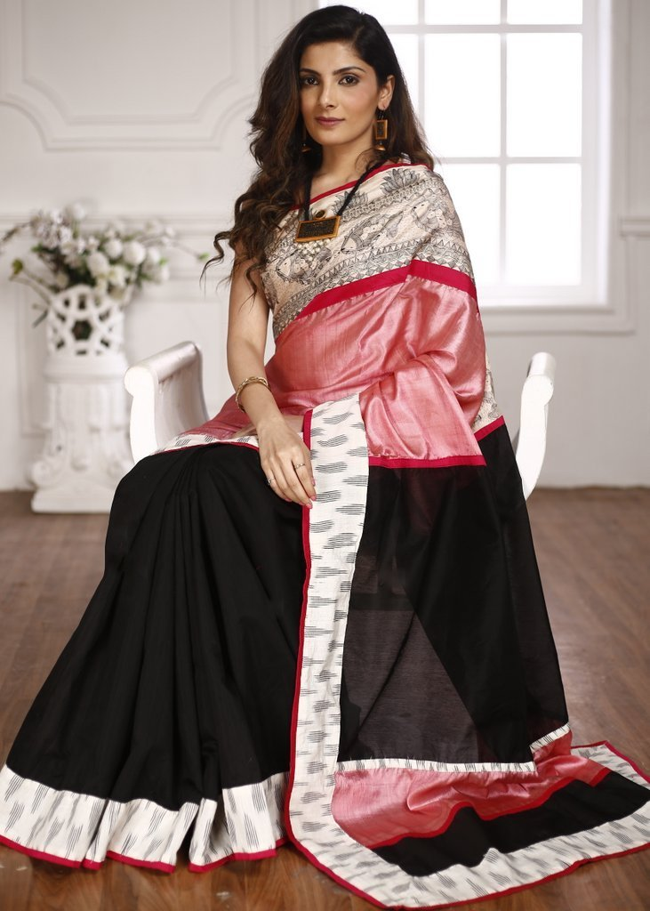 Saree - Hand Painted Madhubani Border With Pure Tasar Silk & Black Chanderi & Ikat Border Saree