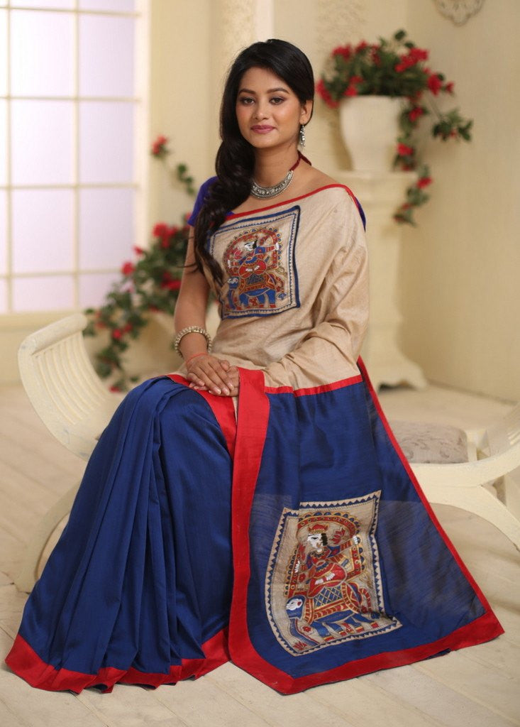 Hand painted madhubani work on pure tasar in front and cotton silk pleats and pallu - Sujatra
