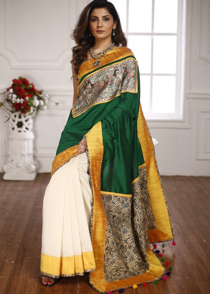 Saree - Hand Painted Madhubani Work With Green Cotton Silk & Off White Chanderi & Printed Pallu Saree