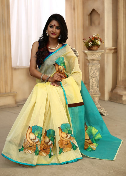 Saree - Hand Painting On Combination Of Yellow And Green Chanderi