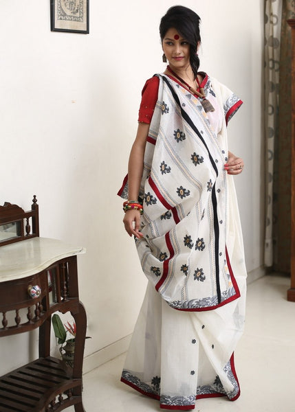 Saree - Handloom Bengali Cotton With Handwoven Motifs