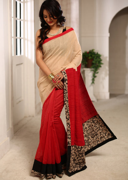 Saree - Handloom Cotton With Temple Border With Red Ghicha Silk Pallu & Chanderi Pleats Saree