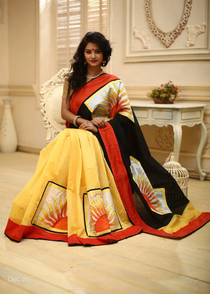 Saree - Handpainted Patches On Yellow And Black Chanderi