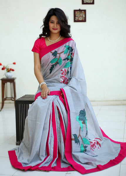 Saree - Handpainted Saree On Grey Chanderi And Pink Border