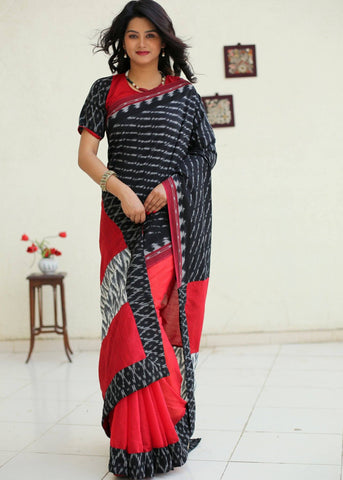 Ikat and red chanderi combination saree with ikat blouse piece