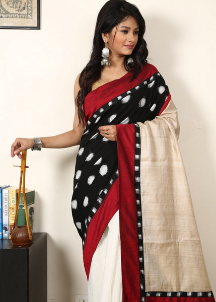 Saree - Ikat Cotton With Pure Tasar Silk Pallu And White Chanderi Pleats
