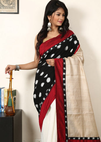 Ikat cotton with pure tasar silk pallu and white chanderi pleats