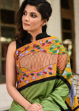 Saree - Intricate Gond Tribal Art In Front And Pallu With Green Semi Silk & Peach Chanderi Saree