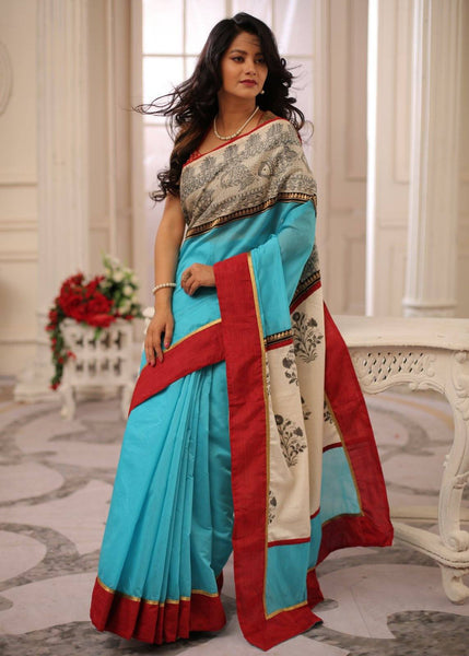 Saree - Intricate Hand Painted Madhubani Border In Front With Printed Cototn Pallu With Blue Chanderi Saree