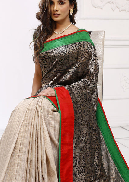 Intricate hand worked kingkhap zari design 100% pure silk saree with pure ghicha silk pleats - Sujatra