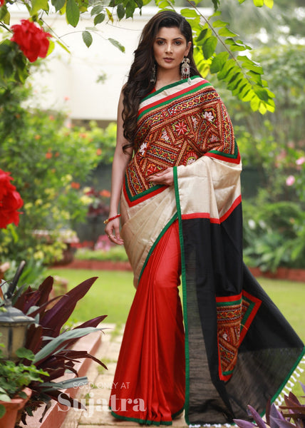 Saree - Intricate Kuctchi Mirror Work On Exclusive Semi Silk Saree
