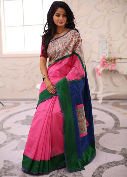 Saree - Intricate Madhubani Hand Painted Border & Patch On Cotton Silk Pallu With Pink Chanderi Saree