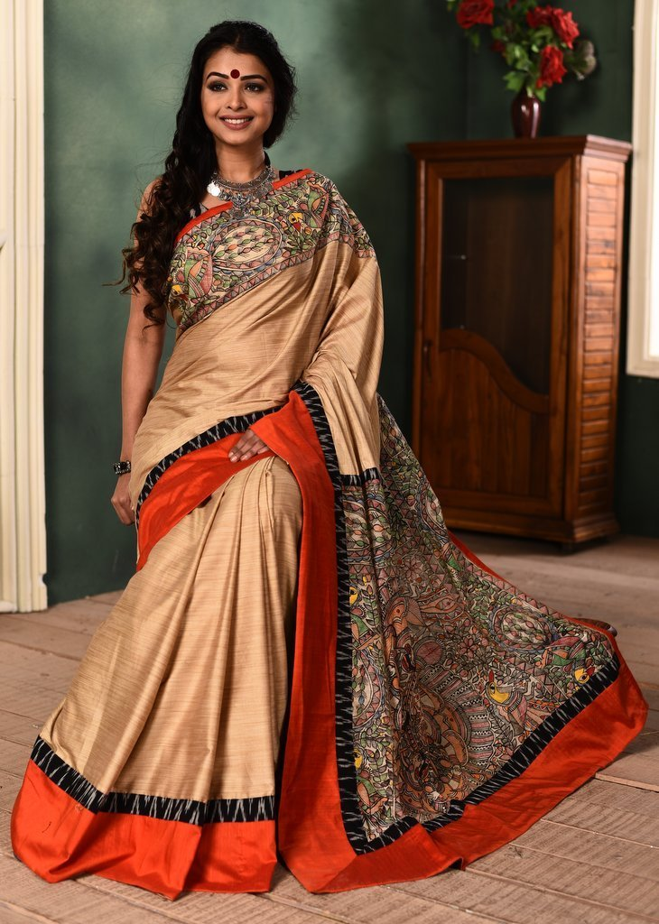 Saree - Intricate Madhubani Hand Patining On Beige Semi Silk Saree