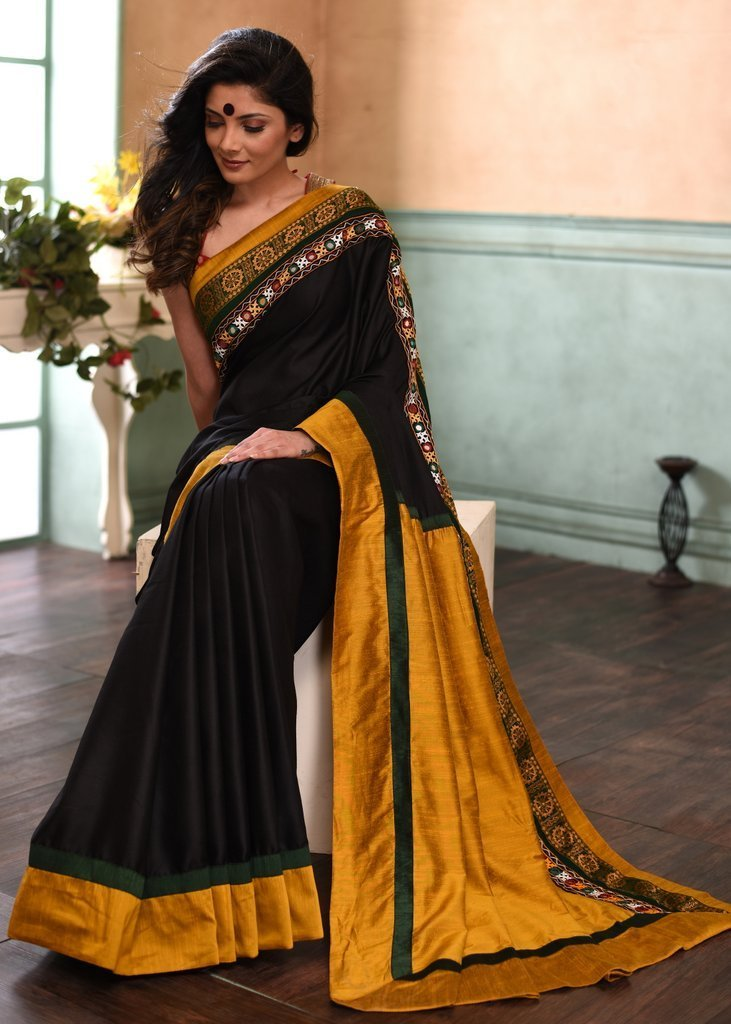 Saree - Jet Black Cotton Saree With Exclusive Sambalpuri & Kutch Mirror Work Combination Border