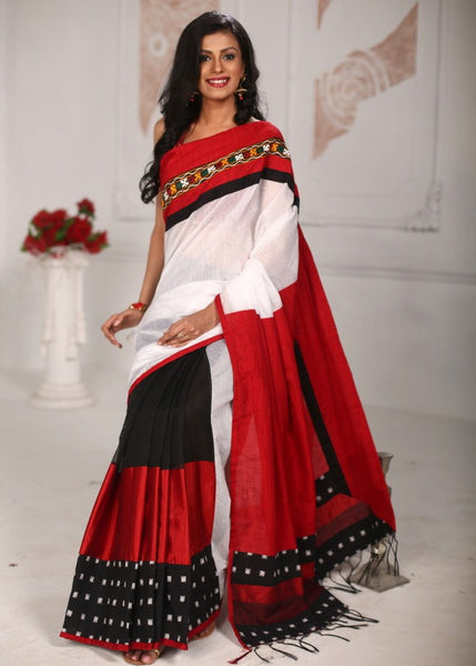 Saree - Kutch Mirror Work Combination With White Chanderi And Cotton Silk Pallu Saree