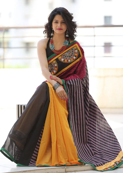 Kutch Mirror work with striped handloom cotton pallu & ikat work with black and orange chanderi combination - Sujatra