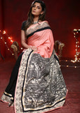 Saree - Light Pink Cotton Silk Saree With Black Chanderi Pleats & Printed Madhubani Pallu