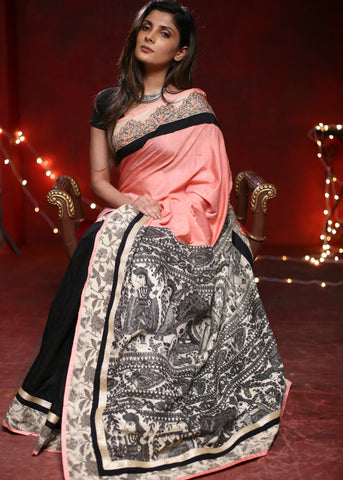 Light pink cotton silk saree with black chanderi pleats & printed madhubani pallu