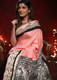 Light pink cotton silk saree with black chanderi pleats & printed madhubani pallu - Sujatra