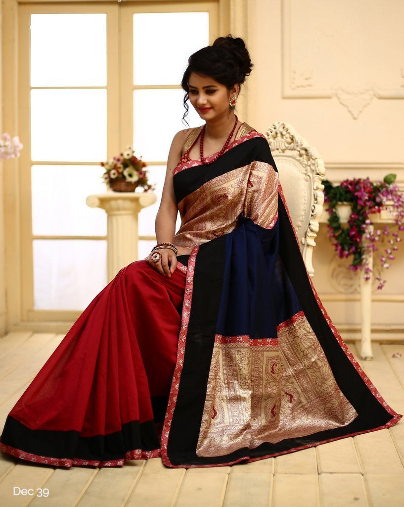 Saree - Madhubani Art On Pure Silk With Red Chanderi Pleats & Pure Silk Piping