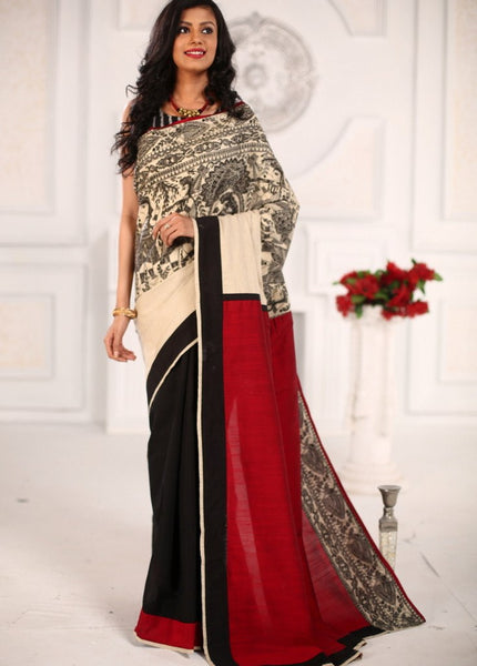 Saree - Madhubani Printed Exclusive Saree With Offwhite Cotton Silk In Front & Black Chanderi Pleats