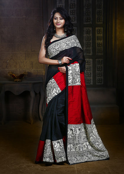 Saree - Madhubani Printed Work On Pallu, Pleats & Border On Black Chanderi & Red Slub Silk