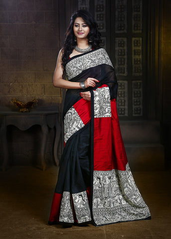 Madhubani printed work on pallu, pleats & Border on Black Chanderi & Red cotton silk