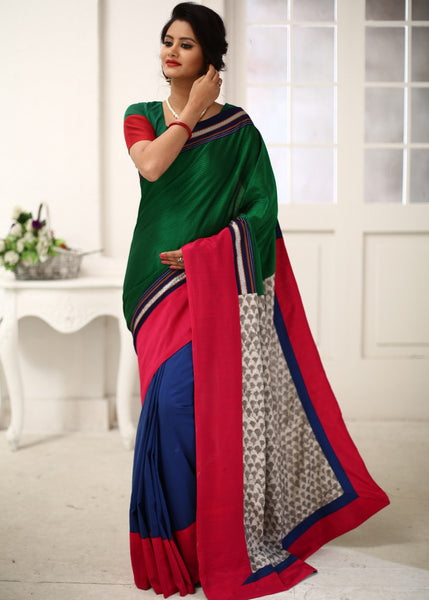 Saree - Maharashtrian Khun Combination With Rajasthani Printed Cotton And Blue Cotton Silk Pleats Saree