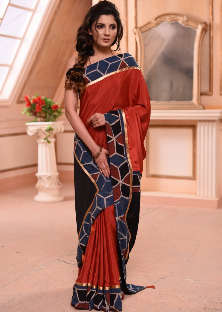 Saree - Maroon French Crepe Saree With Ajrakh Hand Block Printed Border