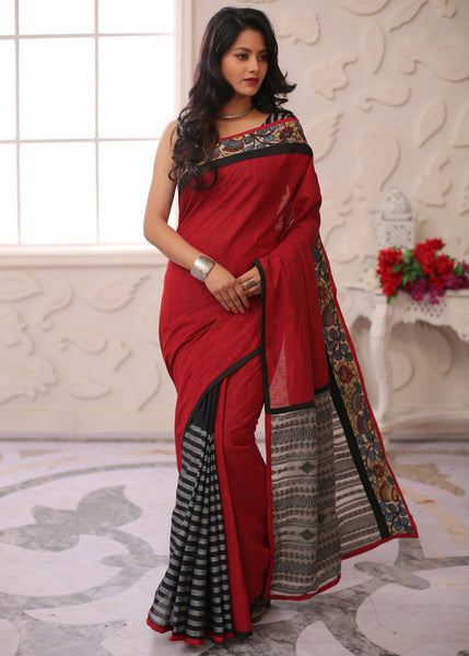 Maroon handloom cotton with hand painted kalamkari border, striped handloom pleats & woven pallu - Sujatra