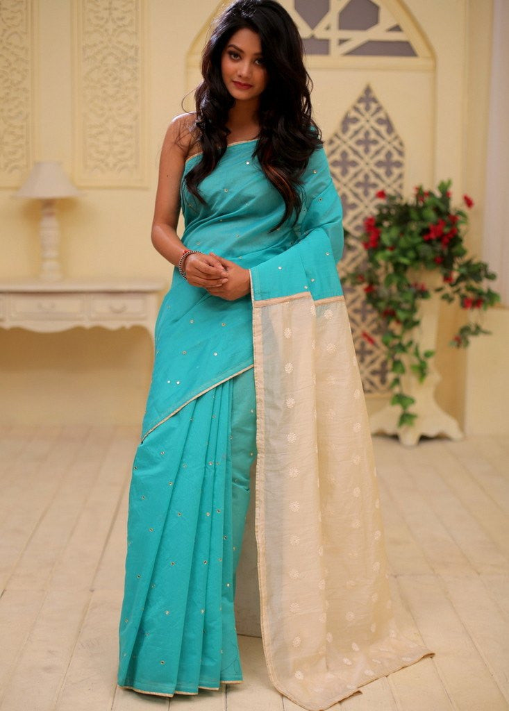 Saree - Mirror Work Chanderi With Embroidered Pallu