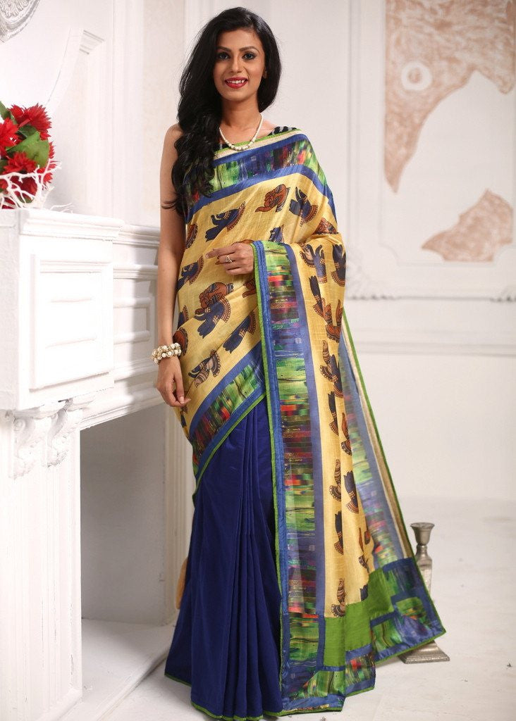 Saree - Mudra Printed Soft Semi Silk With Blue Cotton Silk Pleats Saree