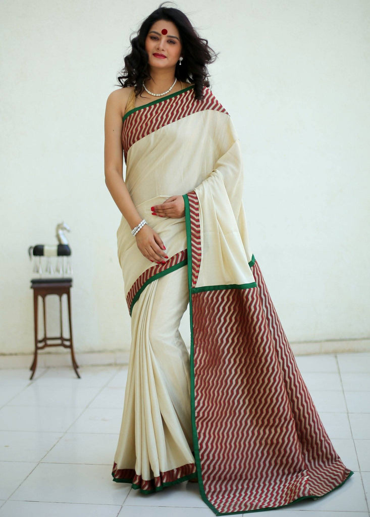 Saree - Off White Art Silk With Geometric Weaving Design Pallu And Border